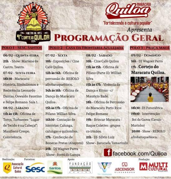 9º Cortejo Quiloa - Programação Geral